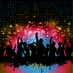 Silhouette of grunge crowd on a music notes background